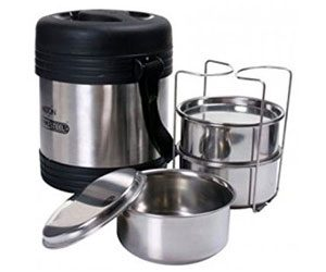 Milton Thermosteel Legend Lunch Box, 3-Pieces, Black/Silver 14% Aamzon