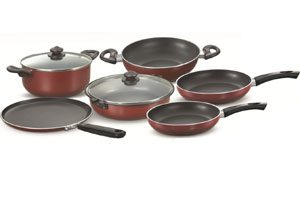 buy Prestige Omega Deluxe Induction Base Non-Stick Kitchen Set, 6-Pieces